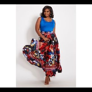 Sexy floral stain maxi skirt